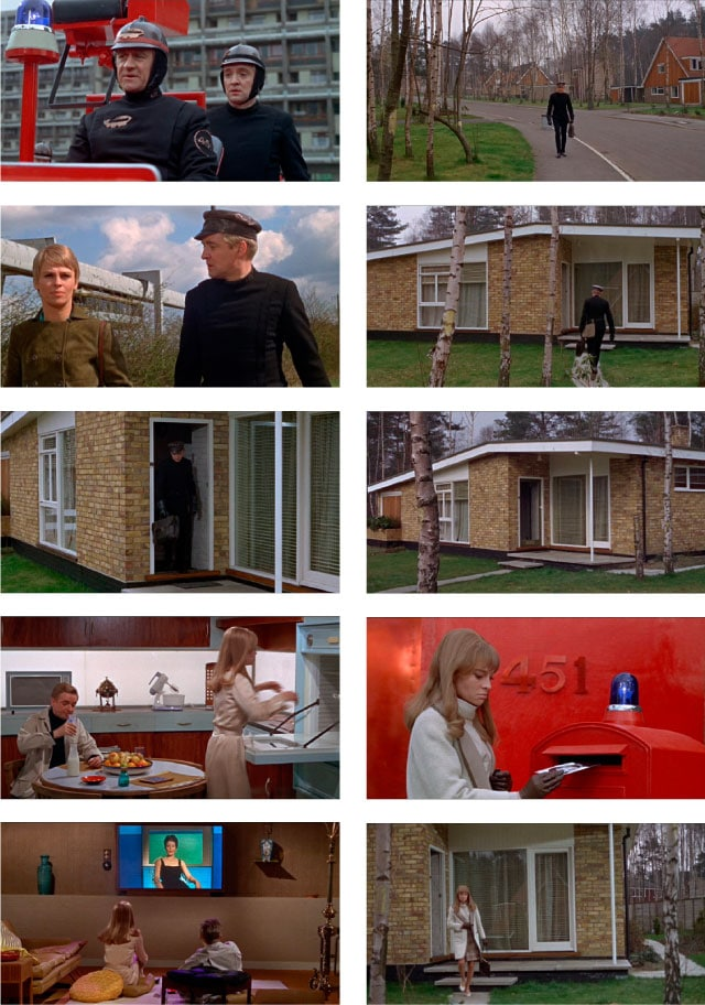 Stills from Truffaut's film of Ray Bradbury's cult novel 'Fahrenheit 451'
