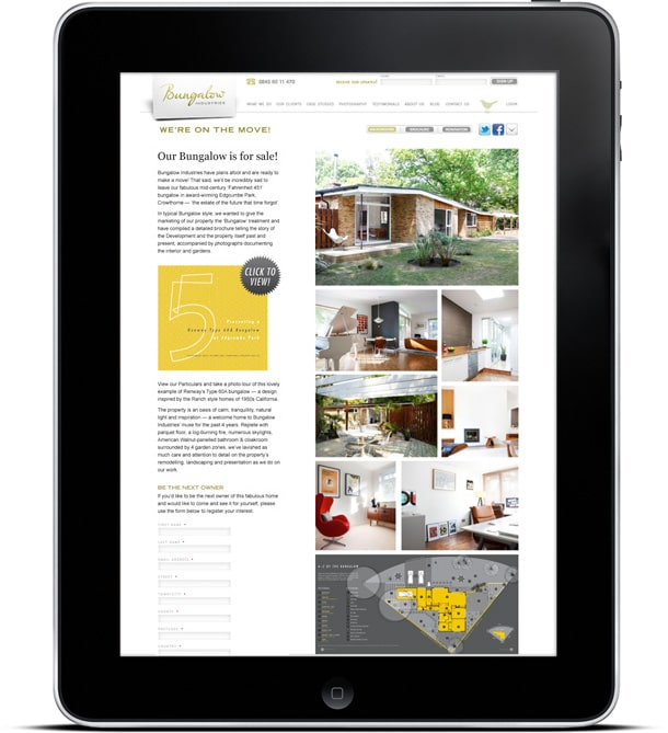 iPad showing the Edgcumbe Park microsite for selling our bungalow